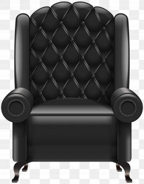 Black Armchair Transparent Clip Art Image - Chair Table Clip Art PNG