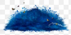 Butterflies In The Grass On Blue - Web Browser Clip Art PNG