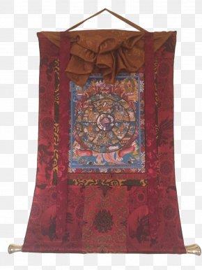 Hand Painted - Tibetan Buddhism Thangka Standing Bell Prayer Flag PNG