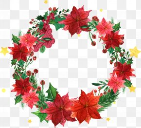 Vector Christmas Wreath Decoration Element Plant - Christmas Wreath Garland Santa Claus PNG