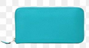 HERMES (Hermes) Blue Zipper Wallet - Blue Turquoise Rectangle PNG