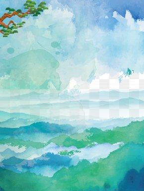 Watercolor Blue Sky Clouds Sea Background - Watercolor Painting U6c34u5f69u98a8u666fu756b PNG