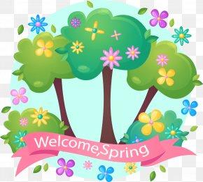 Spring Pink Banner Vector PNG