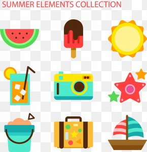 Vector Hand Painted Summer Pattern - Euclidean Vector Icon PNG