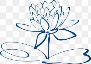 Simple Flower Outline - Nelumbo Nucifera Black And White Flower Clip Art PNG
