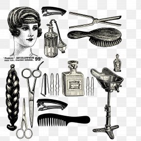 Vintage Barber Shop Promotional Elements - Comb Hairdresser Beauty Parlour Hairstyle Poster PNG