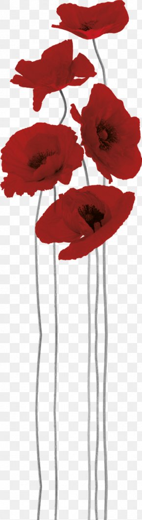 Anzac Day Poppy - Paper Sticker Poppy Painting Mural PNG