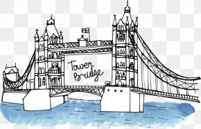 British Style Hand-painted London Bridge - Big Ben Landmark Monument Drawing PNG