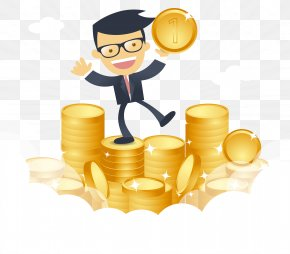 Cartoon Happy Businessman With Money Vector - Money Download PNG