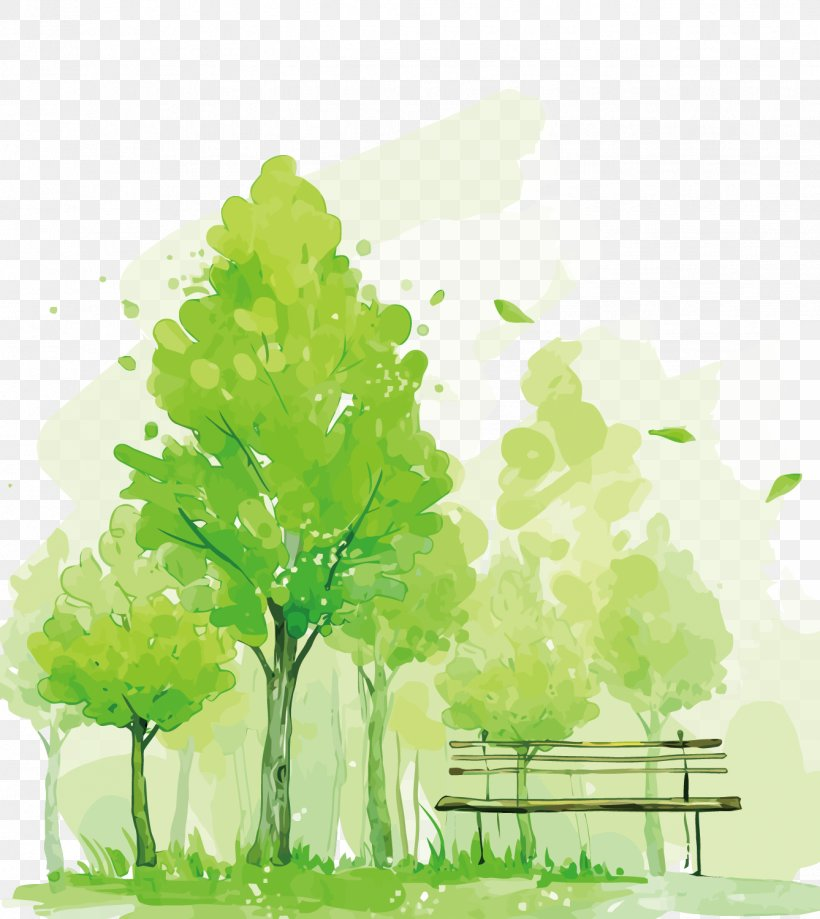 Watercolor Painting Mural Illustration, PNG, 1338x1500px, Pug, Branch, Floral Design, Grass, Green Download Free