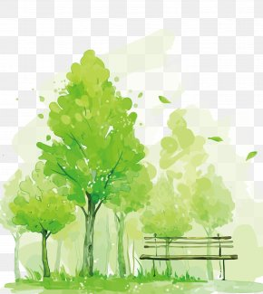 Vector Green Trees - Watercolor Painting Mural Illustration PNG