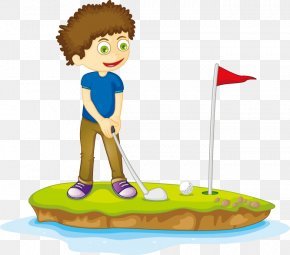Hand Drawn Cartoon Characters To Play Golf - Cartoon Drawing Child Illustration PNG