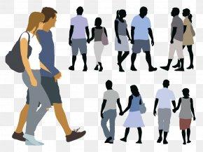 Walking Couple - Silhouette Walking Illustration PNG