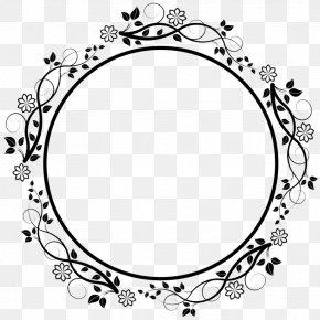 M Pattern Picture Frames Flower Font - Black & White PNG