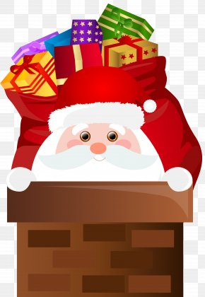 Santa Claus Chimney Transparent Clip Art - Santa Claus Christmas Clip Art PNG