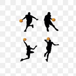 Classic Basketball Action Silhouette - Basketball Player Backboard Clip Art PNG