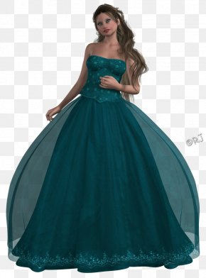 Prom - Dress Blue Aqua Turquoise Teal PNG