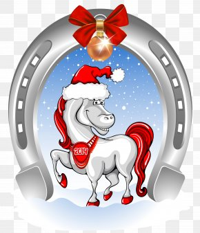 Christmas Cartoon Horse - Horse Santa Claus Christmas Clip Art PNG