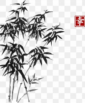 Vector Bamboo Hand-painted Chinese Style Painting - Bamboo Painting Ink Wash Painting Drawing PNG