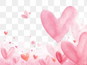 Floating Hearts Background - Romance Falling In Love Watercolor Painting Heart PNG
