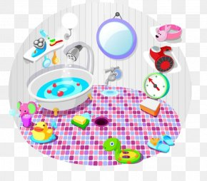 Family Bathroom - Bathroom Bathtub Cleaning Illustration PNG