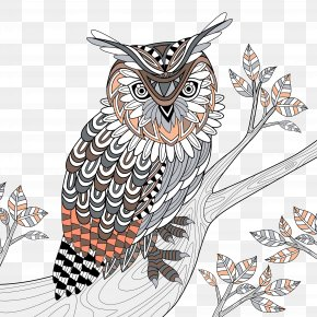 Department Of Forestry Hand-painted Owl - Owl Coloring Book Royalty-free Doodle Illustration PNG