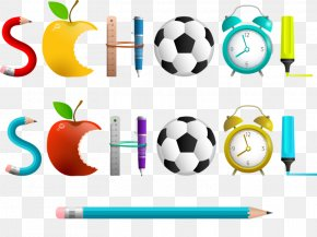 Color Pencil Apple - School Teacher Clip Art PNG