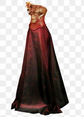 Dark Red Evening Dress - Gown Wedding Dress Formal Wear PNG