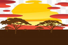 African Grassland Vector - Sunset Silhouette Sky PNG