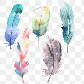 Feather - Feather Watercolor Painting Blue PNG