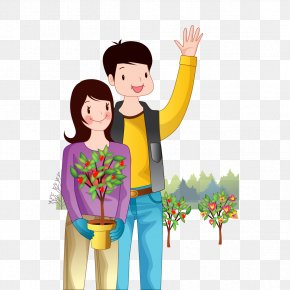 Men And Women Planting Flowers - Tree Planting Cartoon PNG