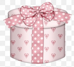 Pink Hearts Round Gift Box Clipart - Christmas Gift Box Clip Art PNG