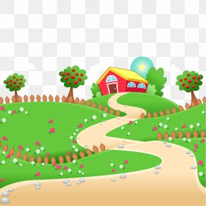 Farm Landscape Vector Illustration - Cartoon Farm Illustration PNG