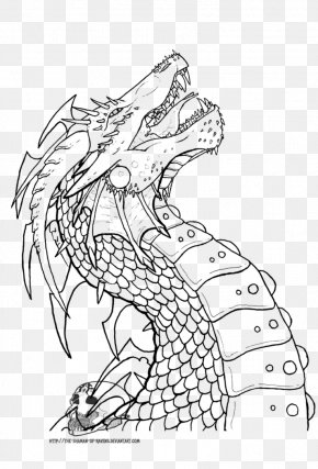 Dragon Line Art - Line Art Drawing Dragon Sketch PNG