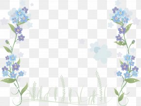 Hand-painted Blue Flowers Border - Flower Blue PNG