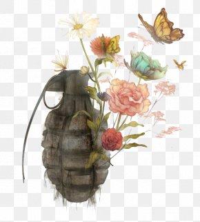 Watercolor Grenade Flower - Artist Printmaking Illustration PNG