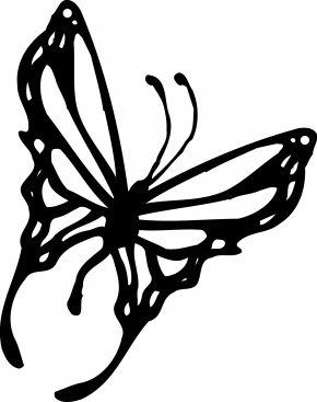 Projects White Cliparts - Monarch Butterfly Black And White Clip Art PNG