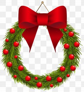 Christmas Pine Wreath With Red Bow Clipart Picture - Christmas Decoration Wreath Garland Clip Art PNG