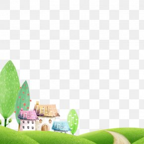 Village Of Fresh Green Background Material - Idea Creativity PNG