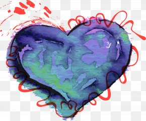 Blue Watercolor Love - Watercolor Painting Shape Heart PNG