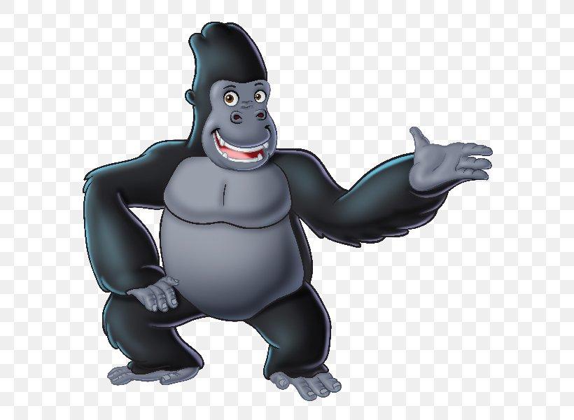 Gorilla Ape Juicy Fun Cartoon Clip Art, PNG, 600x600px, Gorilla, Action Figure, Animal, Animal Figure, Animation Download Free