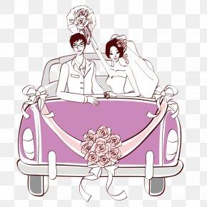 Vector Bride And Groom Wedding Car - Wedding Invitation Marriage Clip Art PNG