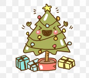 Hand-painted Christmas Tree Potted - Christmas Tree Gift Clip Art PNG