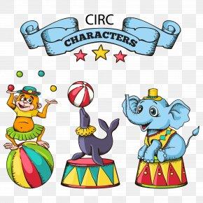 Cartoon Circus Animals Vector Material - Circus Cartoon PNG