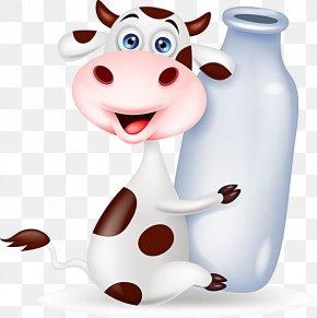 Milk Cow - Cattle Milk Bottle Cartoon PNG