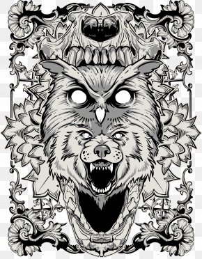 Graffiti Vector Material - Gray Wolf Drawing Illustration PNG