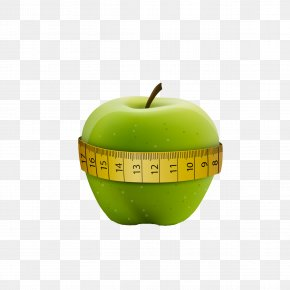 Measuring Tape Around Green Apple - Tape Measure Apple Measurement Calorie PNG