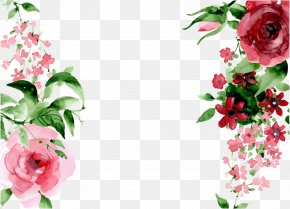 Hand Drawn Flowers - Pixel Watercolor Painting PNG