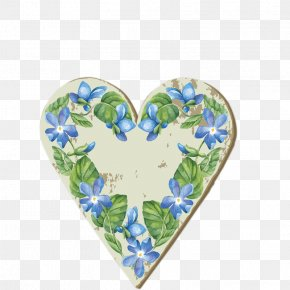 Blue Flowers Love Wood - Flower Heart PNG