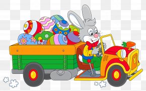 Easter Bunny With Egg Truck Clipart - Easter Bunny Easter Egg Egg Decorating Clip Art PNG